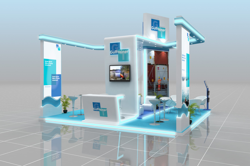 Gulftainer Maritime Exhibition Design Perspective View by Cornerstone